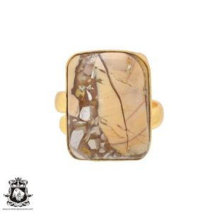 Shop Mookaite Jasper Rings! Size 9.5 – Size 11 Adjustable Brecciated Mookaite 24K Gold Plated Ring GPR698 | Natural genuine Mookaite Jasper rings, simple unique handcrafted gemstone rings. #rings #jewelry #shopping #gift #handmade #fashion #style #affiliate #ad