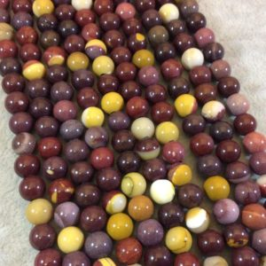"""Shop Mookaite Jasper Round Beads! 8mm Natural Mixed Mookaite Smooth Finish Round/Ball Shaped Beads with 2.5mm Holes – 7.75"""" Strand (Approx. 25 Beads) – LARGE HOLE BEADS 