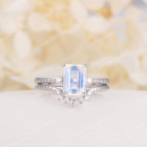 Moonstone engagement ring set white gold Diamond emerald cut Unique engagement ring vintage Curved wedding  Promise | Natural genuine Array jewelry. Buy handcrafted artisan wedding jewelry.  Unique handmade bridal jewelry gift ideas. #jewelry #beadedjewelry #gift #crystaljewelry #shopping #handmadejewelry #wedding #bridal #jewelry #affiliate #ad