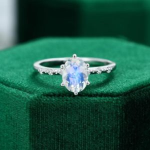 Oval cut Moonstone engagement ring vintage Unique White gold ring women Antique Diamond wedding Bridal ring Anniversary ring gift for her | Natural genuine Gemstone rings, simple unique alternative gemstone engagement rings. #rings #jewelry #bridal #wedding #jewelryaccessories #engagementrings #weddingideas #affiliate #ad