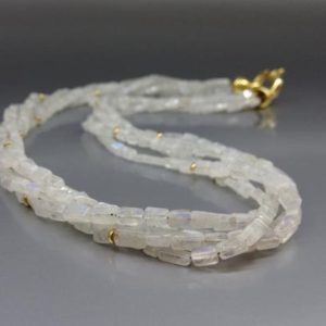 Layered necklace/collier Moonstone with gold – gift for her – bridal and wedding jewelry-white, blue shining, gold gemstone  June birthstone | Natural genuine Array jewelry. Buy handcrafted artisan wedding jewelry.  Unique handmade bridal jewelry gift ideas. #jewelry #beadedjewelry #gift #crystaljewelry #shopping #handmadejewelry #wedding #bridal #jewelry #affiliate #ad