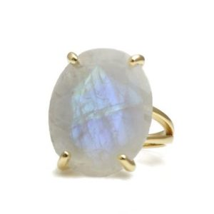 Gold Statement Ring · Vintage Ring · Moonstone Ring · Gold Ring · Oval Ring · Prong Setting Ring · Double Band Rings · Gemstone Ring | Natural genuine Array jewelry. Buy crystal jewelry, handmade handcrafted artisan jewelry for women.  Unique handmade gift ideas. #jewelry #beadedjewelry #beadedjewelry #gift #shopping #handmadejewelry #fashion #style #product #jewelry #affiliate #ad
