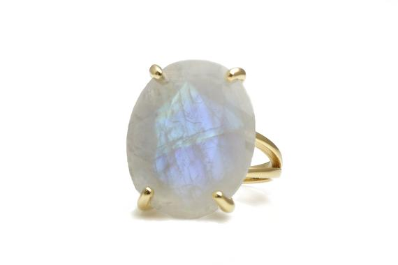 Gold Statement Ring · Vintage Ring · Moonstone Ring · Gold Ring · Oval Ring · Prong Setting Ring · Double Band Rings · Gemstone Ring