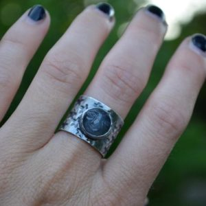 Shop Moonstone Rings! Man in the Moon Ring, Moonstone Ring, Wide Band,Sterling silver, Grey Moonstone Size 6 | Natural genuine Moonstone rings, simple unique handcrafted gemstone rings. #rings #jewelry #shopping #gift #handmade #fashion #style #affiliate #ad