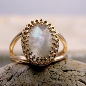 Moonstone Rainbow Ring · Rose Gold Ring · White Gemstone Ring · Feminine Ring · Pink Gold Jewelry · Gold Filled Ring | Natural genuine Array jewelry. Buy crystal jewelry, handmade handcrafted artisan jewelry for women.  Unique handmade gift ideas. #jewelry #beadedjewelry #beadedjewelry #gift #shopping #handmadejewelry #fashion #style #product #jewelry #affiliate #ad