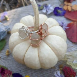 Raw, Rough, Natural Moonstone crystal rings, moonstone crystal jewelry, pure copper or fine silver wire wrapped ring, raw unpolished | Natural genuine Gemstone rings, simple unique handcrafted gemstone rings. #rings #jewelry #shopping #gift #handmade #fashion #style #affiliate #ad
