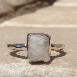 Moonstone Silver Ring, Raw Natural Gemstone, June Birthstone Ring, Boho Ring | Natural genuine Gemstone rings, simple unique handcrafted gemstone rings. #rings #jewelry #shopping #gift #handmade #fashion #style #affiliate #ad
