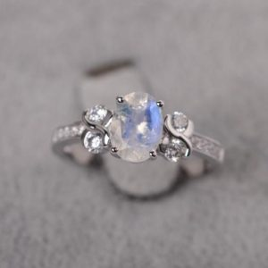Shop Moonstone Engagement Rings! Moonstone ring sterling silver infinity engagement ring oval cut  gemstone ring for women | Natural genuine Moonstone rings, simple unique alternative gemstone engagement rings. #rings #jewelry #bridal #wedding #jewelryaccessories #engagementrings #weddingideas #affiliate #ad