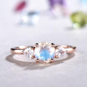 Unique Moonstone Engagement Ring Rose Gold Moissanite Antique Three-Stone Anniversary Ring Promise Bridal Jewelry Anniversary Gift For Her | Natural genuine Gemstone rings, simple unique alternative gemstone engagement rings. #rings #jewelry #bridal #wedding #jewelryaccessories #engagementrings #weddingideas #affiliate #ad