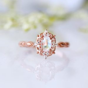 Vintage Moonstone Ring- Natural Moonstone- 14K Rose Gold Vermeil Ring- Engagement Promise Ring- June Birthstone- Anniversary Gift For Her | Natural genuine Gemstone jewelry. Buy handcrafted artisan wedding jewelry.  Unique handmade bridal jewelry gift ideas. #jewelry #beadedjewelry #gift #crystaljewelry #shopping #handmadejewelry #wedding #bridal #jewelry #affiliate #ad