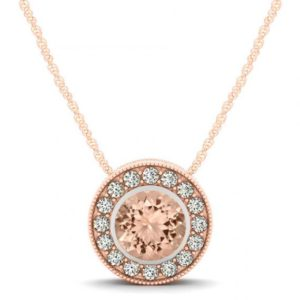Shop Morganite Necklaces! Morganite & Diamond Halo Pendant Necklace 14k Rose Gold – Morganite Jewelry – Morganite Necklaces for Women – Anniversary Gifts for Her | Natural genuine Morganite necklaces. Buy crystal jewelry, handmade handcrafted artisan jewelry for women.  Unique handmade gift ideas. #jewelry #beadednecklaces #beadedjewelry #gift #shopping #handmadejewelry #fashion #style #product #necklaces #affiliate #ad
