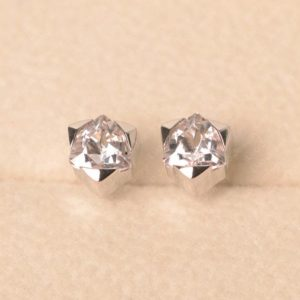 Shop Morganite Earrings! Pink morganite earring, white gold, trillion cut, solitaire earrings, stud earrings | Natural genuine Morganite earrings. Buy crystal jewelry, handmade handcrafted artisan jewelry for women.  Unique handmade gift ideas. #jewelry #beadedearrings #beadedjewelry #gift #shopping #handmadejewelry #fashion #style #product #earrings #affiliate #ad
