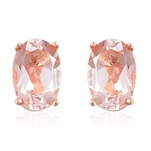 Shop Morganite Earrings! Natural  Morganite Stud Earrings, 14K Rose Gold Earring, Morganite Solitaire Earring, Morganite Stud Earring, Anniversary Gift | Natural genuine Morganite earrings. Buy crystal jewelry, handmade handcrafted artisan jewelry for women.  Unique handmade gift ideas. #jewelry #beadedearrings #beadedjewelry #gift #shopping #handmadejewelry #fashion #style #product #earrings #affiliate #ad