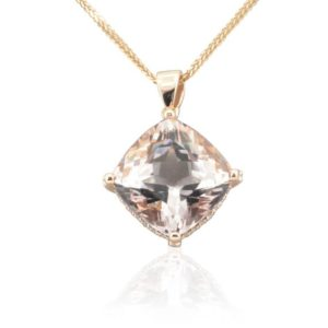 Shop Morganite Necklaces! Morganite Necklace – 14mm Square Cushion cut Pink Morganite and Diamond Pendant with Filigree Hearts in 14k Rose Gold – LS4711 | Natural genuine Morganite necklaces. Buy crystal jewelry, handmade handcrafted artisan jewelry for women.  Unique handmade gift ideas. #jewelry #beadednecklaces #beadedjewelry #gift #shopping #handmadejewelry #fashion #style #product #necklaces #affiliate #ad