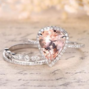 10x12mm Pear Cut Morganite Ring,Big Morganite Engagement Ring Set,Thin Diamond Wedding Band,Art Deco Matching Band,14K White Gold,3 Rings | Natural genuine Array rings, simple unique alternative gemstone engagement rings. #rings #jewelry #bridal #wedding #jewelryaccessories #engagementrings #weddingideas #affiliate #ad
