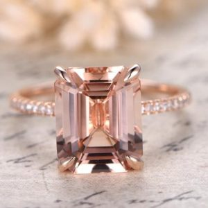 Morganite Ring 14K Rose Gold Solitaire Ring Diamond Wedding Band 9x11mm Emerald Cut Morganite Engagement Ring Diamond Pave Ring Claw Prong | Natural genuine Gemstone rings, simple unique alternative gemstone engagement rings. #rings #jewelry #bridal #wedding #jewelryaccessories #engagementrings #weddingideas #affiliate #ad