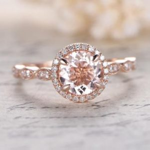 7mm Pink Morganite Ring 14K Rose Gold Morganite Engagement Ring Pave Diamond Wedding Band Marquise diamond Promise Ring Women Bridal Ring   Natural genuine Array rings, simple unique alternative gemstone engagement rings. #rings #jewelry #bridal #wedding #jewelryaccessories #engagementrings #weddingideas #affiliate #ad