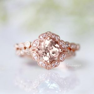 Shop Morganite Rings! Art Deco Morganite Ring Set-  14k Rose Gold Vermeil Ring- Engagement Ring- Promise Ring- Vintage Inspired- Anniversary Birthday Gift For Her | Natural genuine Morganite rings, simple unique alternative gemstone engagement rings. #rings #jewelry #bridal #wedding #jewelryaccessories #engagementrings #weddingideas #affiliate #ad