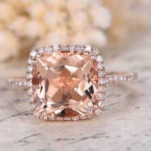 Shop Morganite Rings! Morganite Engagement Ring Rose Gold Pave Diamond Ring 9mm Cushion Cut Pink Morganite Ring Art Deco Diamond HALO Diamond Wedding Band Promise | Natural genuine Morganite rings, simple unique alternative gemstone engagement rings. #rings #jewelry #bridal #wedding #jewelryaccessories #engagementrings #weddingideas #affiliate #ad