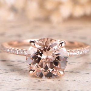 Morganite Engagement Ring Solid 14K Rose Gold Pave Diamond Wedding Band Bottom Diamond Halo Solitaire Women Ring Unique Promise Ring Bridal | Natural genuine Array rings, simple unique alternative gemstone engagement rings. #rings #jewelry #bridal #wedding #jewelryaccessories #engagementrings #weddingideas #affiliate #ad