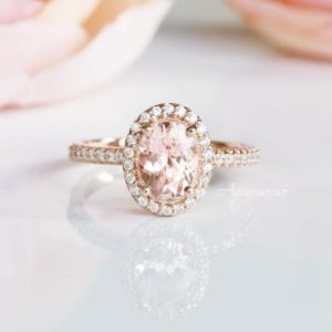 Shop Morganite Rings! Oval Morganite Ring- 14K Rose Gold Vermeil Ring- Engagement Promise Ring- Pink Gemstone-Halo Ring- Oval Cut-AnniversaryBirthday Gift for Her | Natural genuine Morganite rings, simple unique alternative gemstone engagement rings. #rings #jewelry #bridal #wedding #jewelryaccessories #engagementrings #weddingideas #affiliate #ad