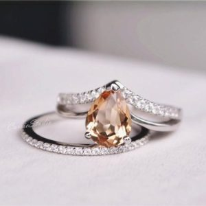 Pear Morganite Ring Set Morganite Engagement Ring Set Wedding Ring Set Anniversary Ring Gift Two Ring Set | Natural genuine Array rings, simple unique alternative gemstone engagement rings. #rings #jewelry #bridal #wedding #jewelryaccessories #engagementrings #weddingideas #affiliate #ad