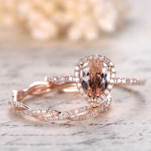 Pear Shaped 6x8mm Pink Morganite Engagement Ring Set,Solid 14K Rose Gold Diamond Wedding Band,2pcs Diamond Rings Set,Deco Split Shank Band | Natural genuine Array rings, simple unique alternative gemstone engagement rings. #rings #jewelry #bridal #wedding #jewelryaccessories #engagementrings #weddingideas #affiliate #ad