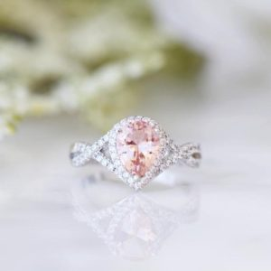 Shop Morganite Rings! Pear Morganite Ring- Teardrop Morganite Infinity Ring- Sterling Silver Ring- Pink Gemstone- Engagement Promise Ring-Anniversary Gift For Her | Natural genuine Morganite rings, simple unique alternative gemstone engagement rings. #rings #jewelry #bridal #wedding #jewelryaccessories #engagementrings #weddingideas #affiliate #ad