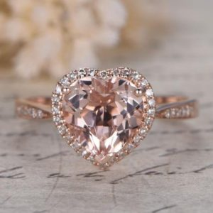 Shop Morganite Rings! Pink Morganite Ring 14K Rose Gold 8mm Heart Cut Morganite Engagement Ring Pave Diamond Wedding Ring Art Retro Vintage Women Ring Best Gift | Natural genuine Morganite rings, simple unique alternative gemstone engagement rings. #rings #jewelry #bridal #wedding #jewelryaccessories #engagementrings #weddingideas #affiliate #ad