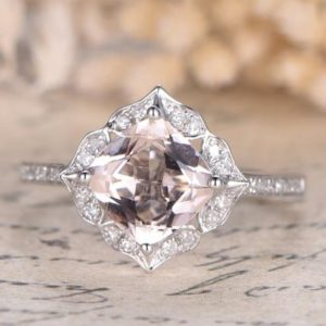 Pink Morganite Ring 14K White Gold Pave Diamond Wedding Ring 7mm Cushion Cut Morganite Engagement Ring Bridal Promise Ring Anniversary Ring | Natural genuine Gemstone rings, simple unique alternative gemstone engagement rings. #rings #jewelry #bridal #wedding #jewelryaccessories #engagementrings #weddingideas #affiliate #ad