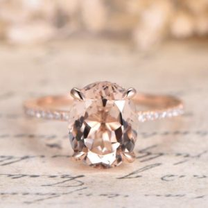 Shop Morganite Rings! Pink Morganite Engagement Ring Rose Gold Unique Engagement Ring Diamond Wedding Band 8x10mm Oval Cut Bridal Ring Art Deco Women Ring 14K | Natural genuine Morganite rings, simple unique alternative gemstone engagement rings. #rings #jewelry #bridal #wedding #jewelryaccessories #engagementrings #weddingideas #affiliate #ad