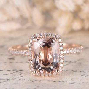 Morganite Ring Rose Gold Diamond Wedding Ring 7x9m Cushion Morganite Engagement Ring Full Eternity Diamonds Wedding Ring Vintage Women Ring | Natural genuine Gemstone rings, simple unique alternative gemstone engagement rings. #rings #jewelry #bridal #wedding #jewelryaccessories #engagementrings #weddingideas #affiliate #ad