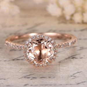 Rose Gold Morganite Engagement Ring Diamond Wedding Band Halo Diamond Engagement Ring 7mm Round Morganite Ring Women Bridal Valentine Gift | Natural genuine Array rings, simple unique alternative gemstone engagement rings. #rings #jewelry #bridal #wedding #jewelryaccessories #engagementrings #weddingideas #affiliate #ad