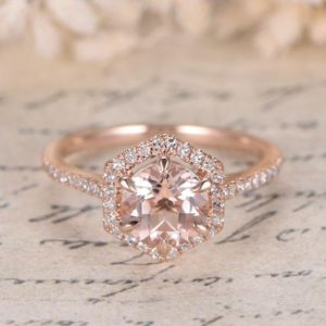 Morganite Ring Rose Gold,Vintage Engagement Ring, Morganite Engagement Ring Women, Half Eternity Wedding Band, 14K Solid Gold,7mm Round Cut | Natural genuine Array rings, simple unique alternative gemstone engagement rings. #rings #jewelry #bridal #wedding #jewelryaccessories #engagementrings #weddingideas #affiliate #ad
