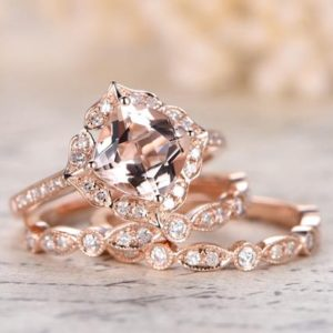 Valentine's gift 6.5mm Cushion Cut Pink Morganite Engagement Ring Set Morganite Ring Two Diamond Wedding Bands Solid 14K Rose Gold Ring | Natural genuine Gemstone rings, simple unique alternative gemstone engagement rings. #rings #jewelry #bridal #wedding #jewelryaccessories #engagementrings #weddingideas #affiliate #ad