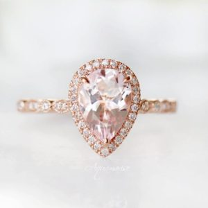 Shop Morganite Rings! Vintage Teardrop Morganite Ring- 14K Rose Gold Vermeil Ring- Morganite Engagement  Ring- Promise Ring- Anniversary Birthday Gift For Her | Natural genuine Morganite rings, simple unique alternative gemstone engagement rings. #rings #jewelry #bridal #wedding #jewelryaccessories #engagementrings #weddingideas #affiliate #ad