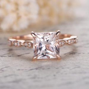 VS Natural Morganite Engagement Ring Rose Gold Diamond Wedding Ring Women Bridal Ring Marquise Diamond Band Promise Ring Anniversary Gift | Natural genuine Gemstone rings, simple unique alternative gemstone engagement rings. #rings #jewelry #bridal #wedding #jewelryaccessories #engagementrings #weddingideas #affiliate #ad