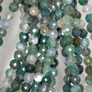 Shop Moss Agate Beads! 6mm Green Moss Agate Gemstone Faceted Round 6mm Loose Beads 7.5 inch Half Strand (90191833-B66) | Natural genuine beads Moss Agate beads for beading and jewelry making.  #jewelry #beads #beadedjewelry #diyjewelry #jewelrymaking #beadstore #beading #affiliate #ad