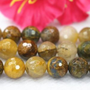 """Natural 128 Faceted Yellow Iron Tiger Eye Smooth Round Beads,Tiger Eye Beads wholesale supply.15"""" strand,6mm 8mm 10mm 12mm 