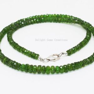 Shop Diopside Necklaces! Natural Chrome Diopside Beaded Necklace,4mm-5mm Faceted Chrome Diopside Necklace,Sterling Silver Green Chrome Necklace 18 inch, Gift For Her | Natural genuine Diopside necklaces. Buy crystal jewelry, handmade handcrafted artisan jewelry for women.  Unique handmade gift ideas. #jewelry #beadednecklaces #beadedjewelry #gift #shopping #handmadejewelry #fashion #style #product #necklaces #affiliate #ad