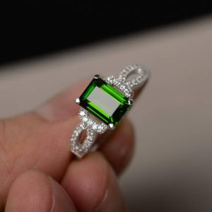 Shop Diopside Rings! Natural Chrome Diopside Ring Green Gemstone Ring Silver Engagement Rings | Natural genuine Diopside rings, simple unique alternative gemstone engagement rings. #rings #jewelry #bridal #wedding #jewelryaccessories #engagementrings #weddingideas #affiliate #ad