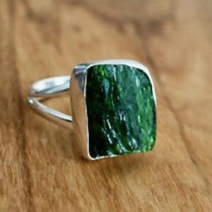 Shop Diopside Rings! Natural Chrome Diopside Ring, Russian Chrome Diopside, Sterling Silver Ring Women, Rough Gemstone, Green Gemstone Ring, Mistry Gems, R92 | Natural genuine Diopside rings, simple unique handcrafted gemstone rings. #rings #jewelry #shopping #gift #handmade #fashion #style #affiliate #ad