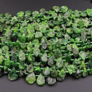 """Natural Chrome Diopside Teardrop Bead Top Side Drilled Matte Raw Rough Cut Real Genuine Green Gemstone Good For Earrings 15.5"""" Strand 