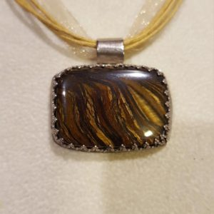 Shop Tiger Iron Necklaces! NATURAL Cushion Shaped TIGER IRON Necklace, Sterling Silver, Lace Inspired Bezel And Rolled Bale, Stone Is A Mix Of Tigers Eye And Hematite | Natural genuine Tiger Iron necklaces. Buy crystal jewelry, handmade handcrafted artisan jewelry for women.  Unique handmade gift ideas. #jewelry #beadednecklaces #beadedjewelry #gift #shopping #handmadejewelry #fashion #style #product #necklaces #affiliate #ad