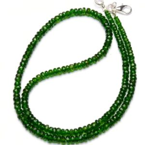 Shop Diopside Necklaces! natural gemstone chrome diopside necklace, faceted rondelle beads, 3 to 5mm size, 17.5 inch full strand | Natural genuine Diopside necklaces. Buy crystal jewelry, handmade handcrafted artisan jewelry for women.  Unique handmade gift ideas. #jewelry #beadednecklaces #beadedjewelry #gift #shopping #handmadejewelry #fashion #style #product #necklaces #affiliate #ad