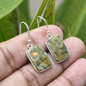 Shop Rainforest Jasper Earrings! Natural Genuine Rainforest Jasper Earring – 925 Sterling Silver Earring- Rainforest Gemstone 15x11mm Cushion Earring- Silver Earring, Etsy | Natural genuine Rainforest Jasper earrings. Buy crystal jewelry, handmade handcrafted artisan jewelry for women.  Unique handmade gift ideas. #jewelry #beadedearrings #beadedjewelry #gift #shopping #handmadejewelry #fashion #style #product #earrings #affiliate #ad
