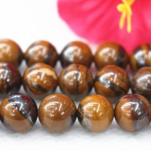 "Natural Iron Tiger Eye Beads, 8mm 10mm smooth round gemstone Beads wholesale supply.15"" strand 