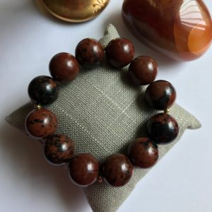Mahogany Obsidian Bracelet, Unique Bracelet, Armband, Wristband, Gift for Her, Gift for Him, Stretch Bracelet, One-of-a- kind bracelet | Natural genuine Mahogany Obsidian jewelry. Buy crystal jewelry, handmade handcrafted artisan jewelry for women.  Unique handmade gift ideas. #jewelry #beadedjewelry #beadedjewelry #gift #shopping #handmadejewelry #fashion #style #product #jewelry #affiliate #ad