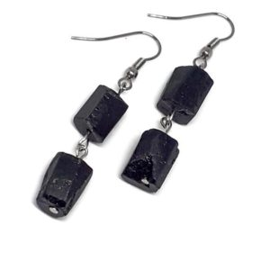 Shop Black Tourmaline Earrings! Natural Raw black tourmaline earrings Black tourmaline earrings Stainless steel earrings Black earrings Tourmaline jewelry Stone earrings | Natural genuine Black Tourmaline earrings. Buy crystal jewelry, handmade handcrafted artisan jewelry for women.  Unique handmade gift ideas. #jewelry #beadedearrings #beadedjewelry #gift #shopping #handmadejewelry #fashion #style #product #earrings #affiliate #ad