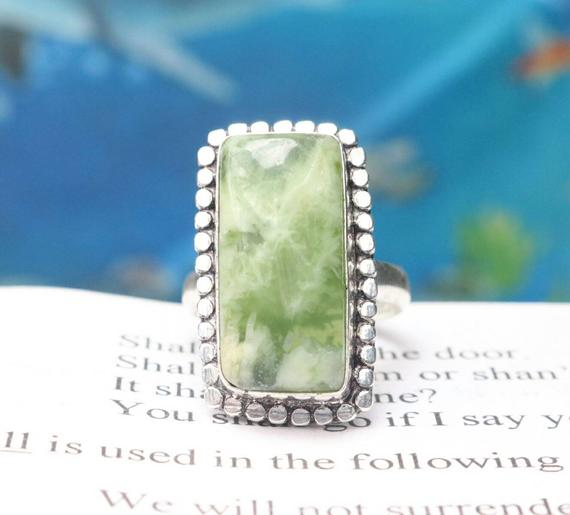 Natural Serpentine Ring, 925 Sterling Silver Ring, Dainty Ring, Solid 925 Sterling Silver Handmade Ring, Statement Ring, Birthstone Ring